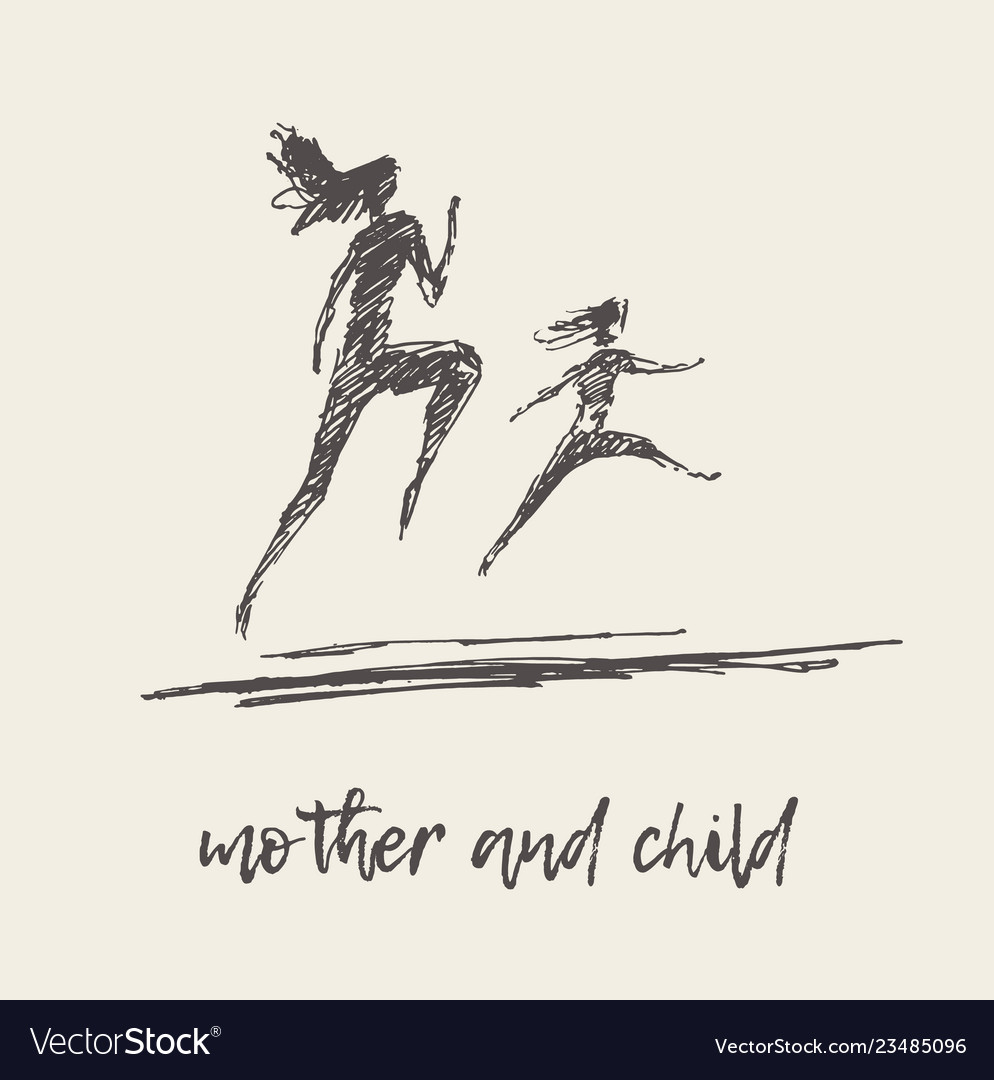 Mother child running silhouette draw sketch