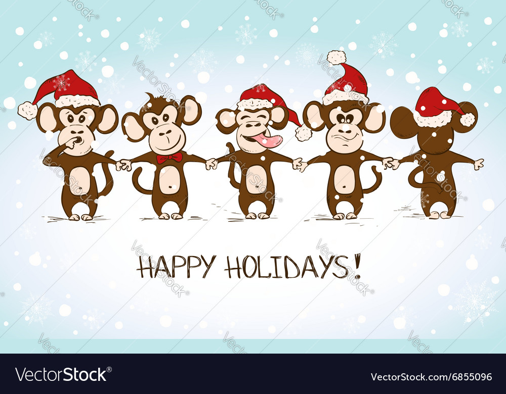 New Year Card With Funny Monkey Holding Hands Vector Image