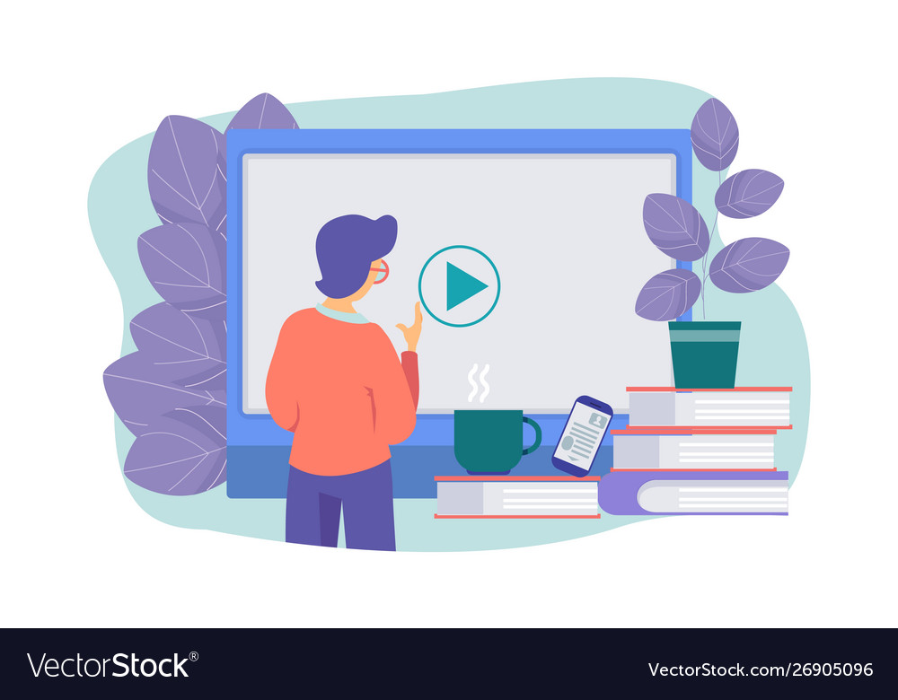 Online Education Concept E Learning Royalty Free Vector