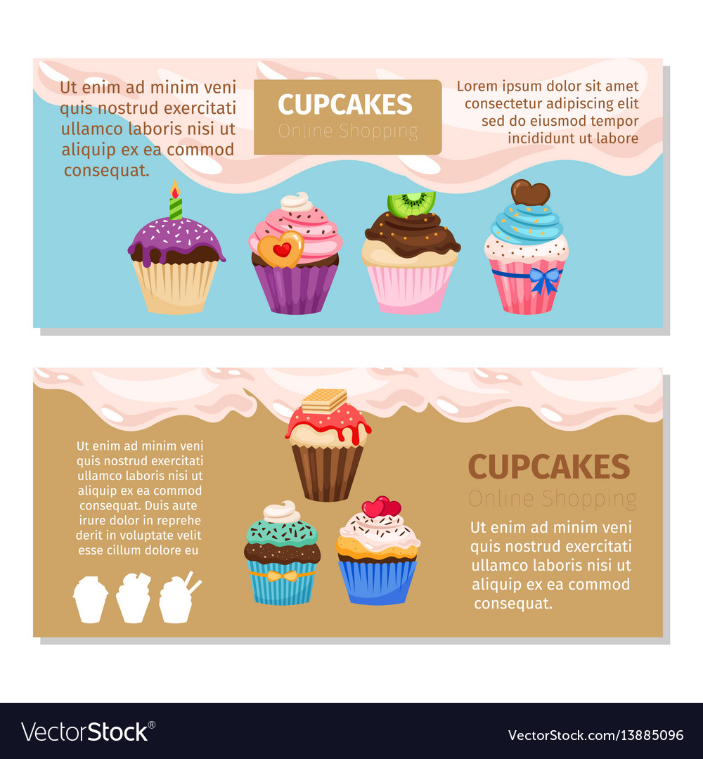 online shopping muffin flyers design royalty free vector