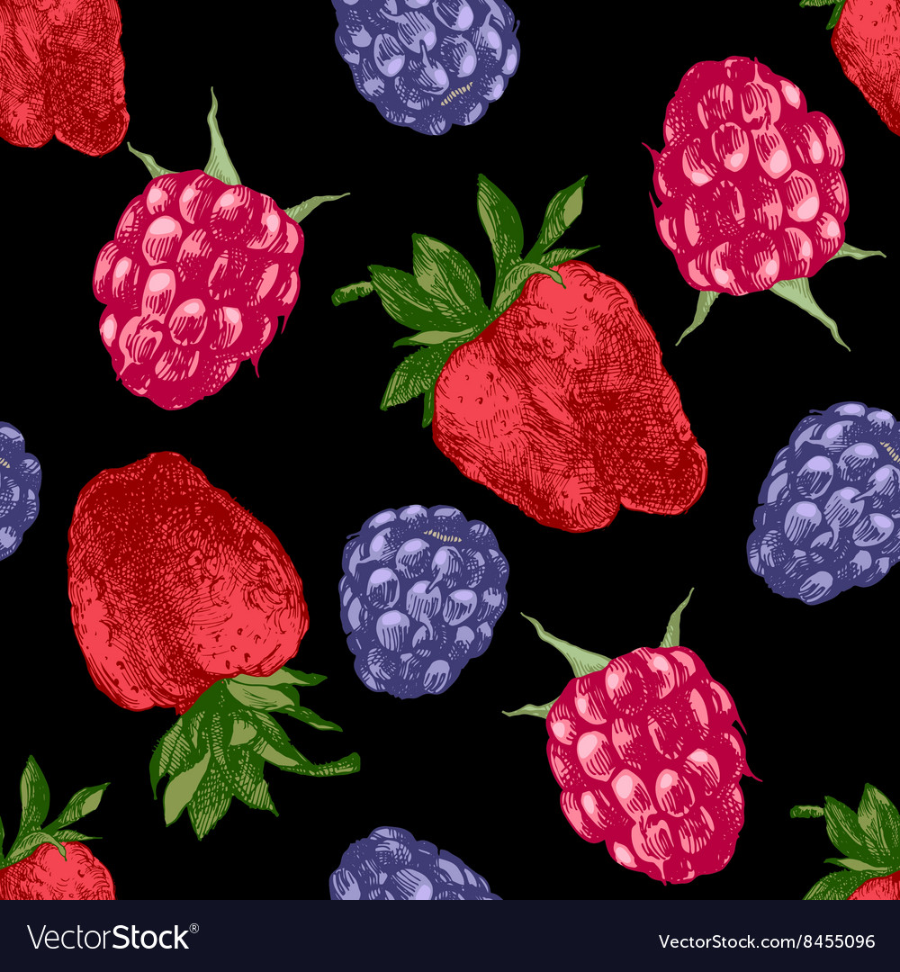 Pattern with bright berries