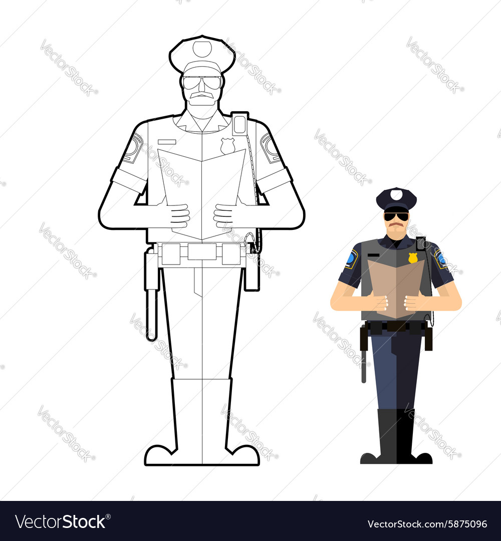 Police Officer Drawing Black And White Vector Images 65