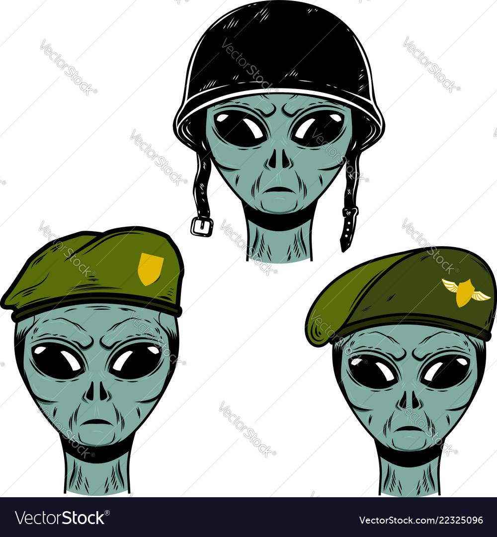 Set alien soldier in battle helmet and