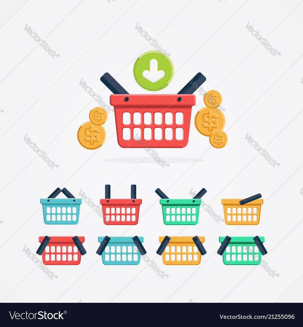 Set colored shopping basket