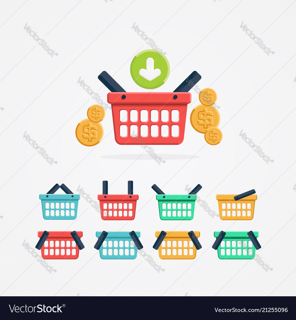 Set of colored shopping basket