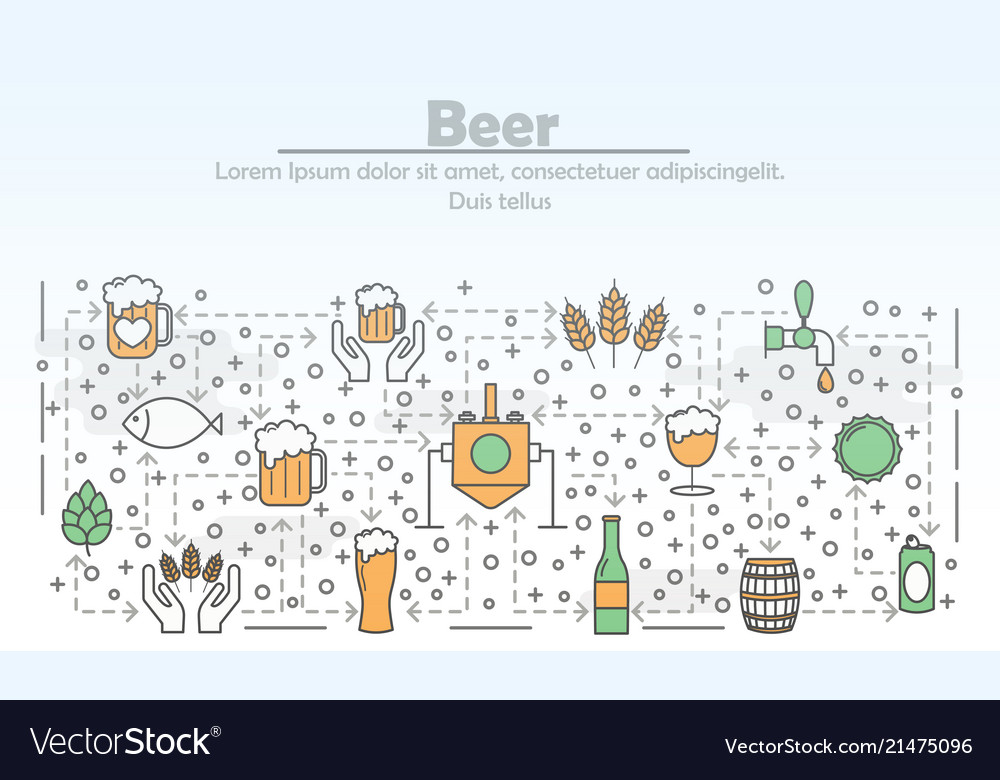 Thin line art beer poster banner template