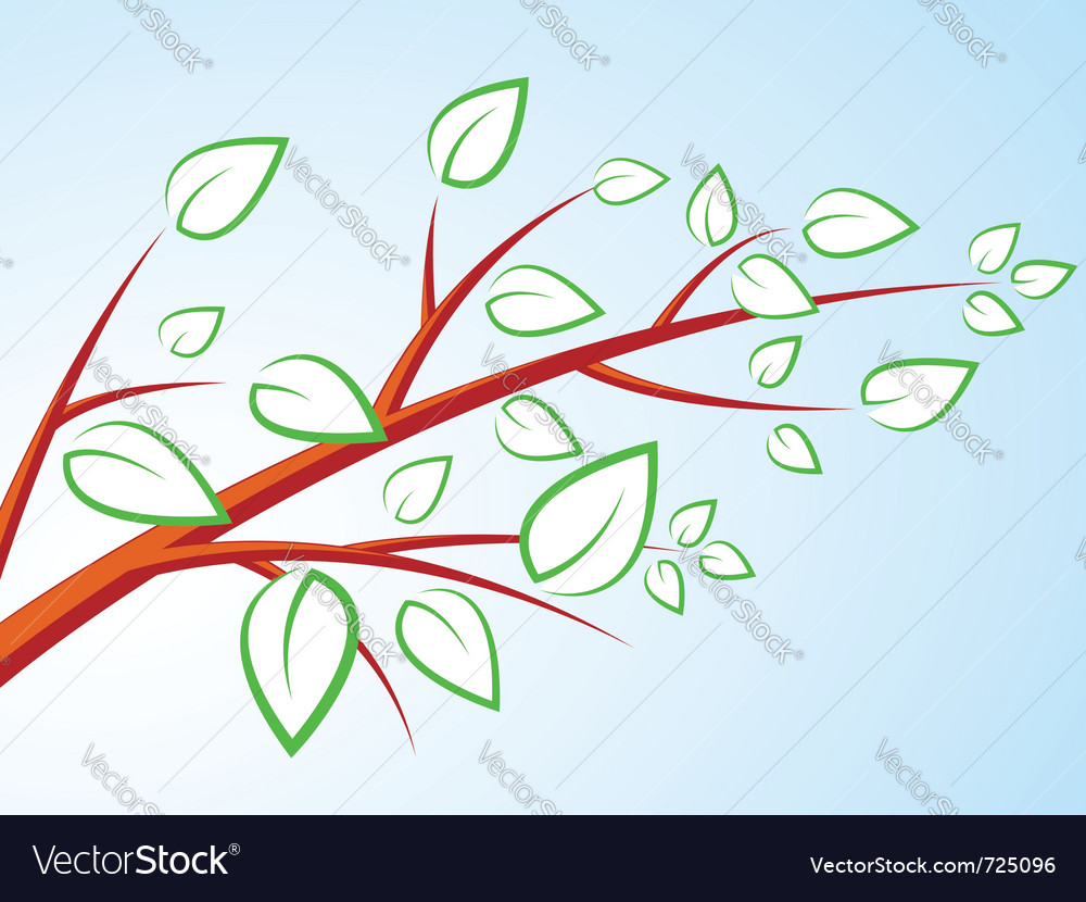 Tree branch with leaves over blue sky