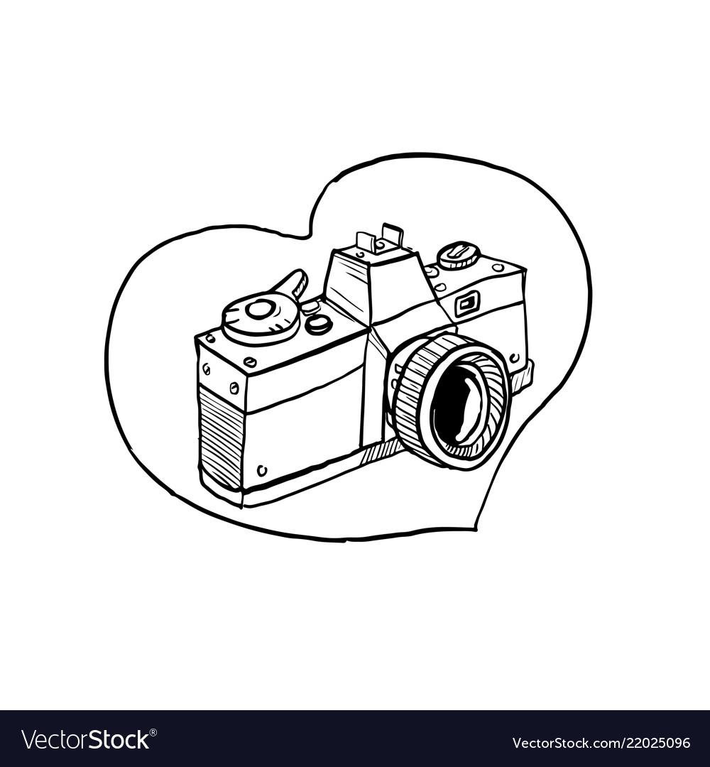 Vintage 35mm Slr Camera Heart Drawing Royalty Free Vector