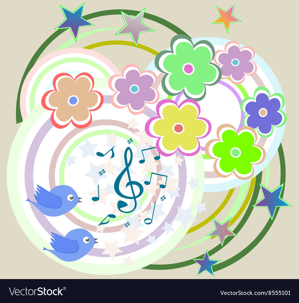 Birds in love singing on abstract floral