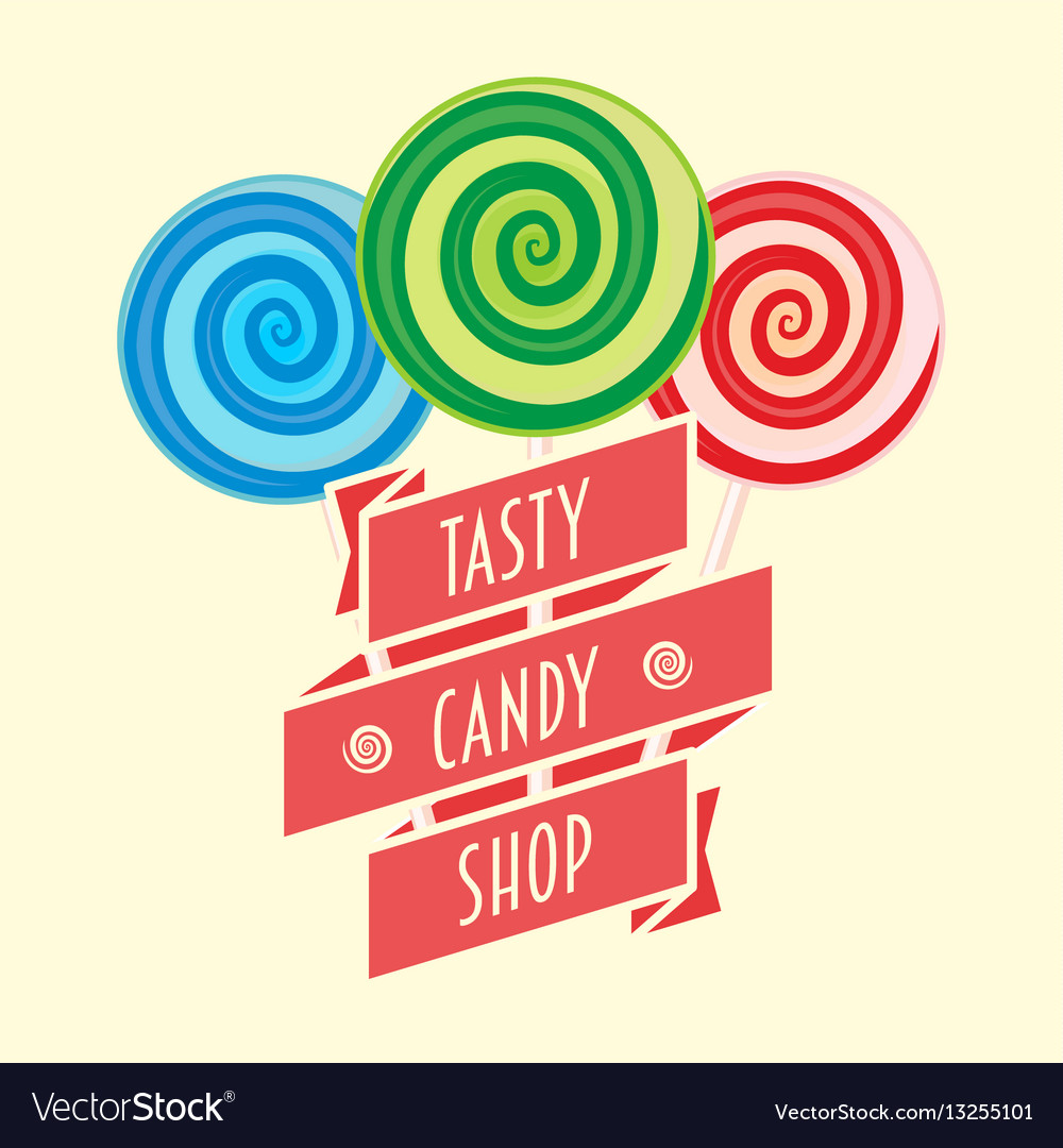 Candy shop logo symbol or label concept with