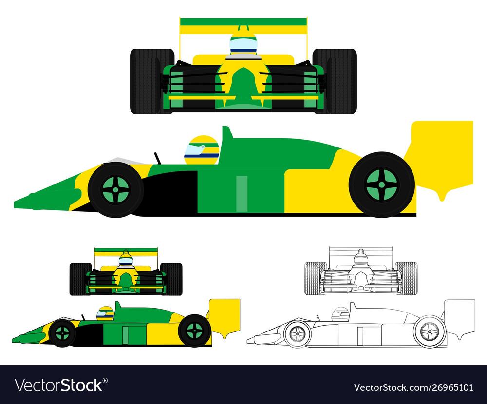 - Famous Race Car Brazilian Colors Flag Royalty Free Vector