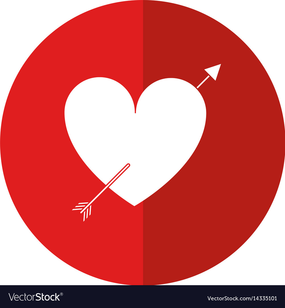 Heart with arrow love valentine shadow vector image