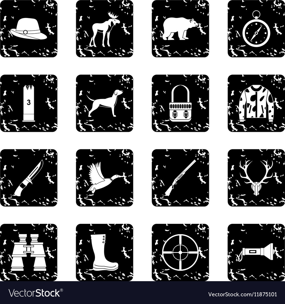 Hunting icons set simple style