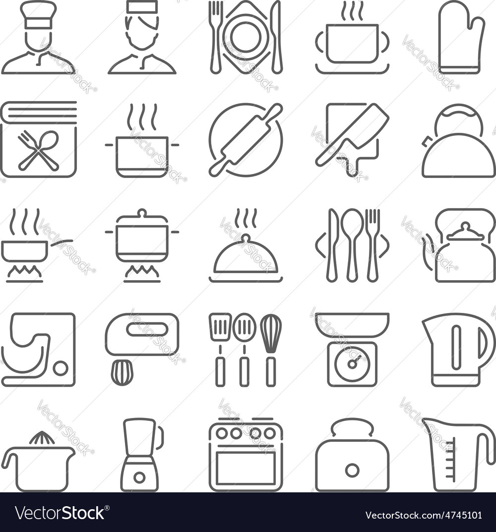Kitchen utensils and cooking line icons