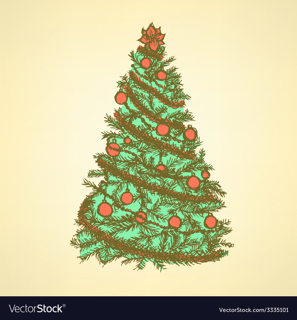New Year tree with balls vector image