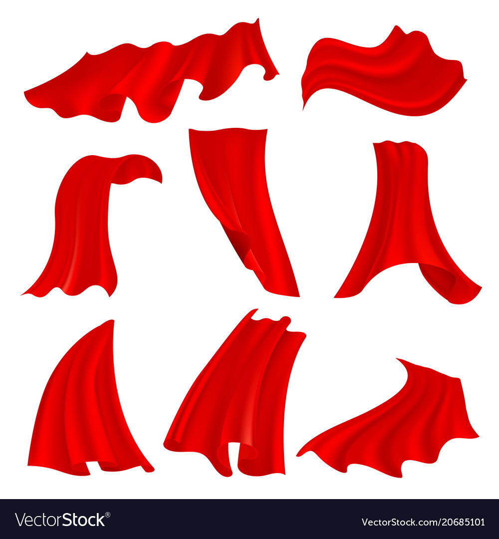 Realistic billowing red satin cloth isolated on