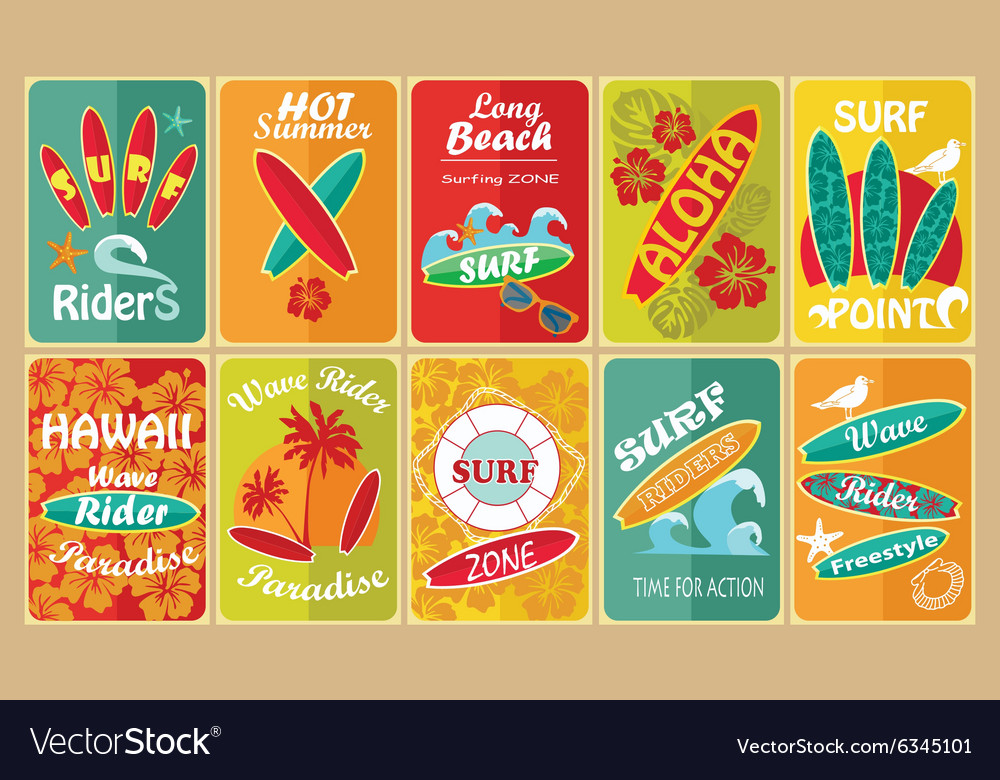 Set of retro surfing typographical posters for