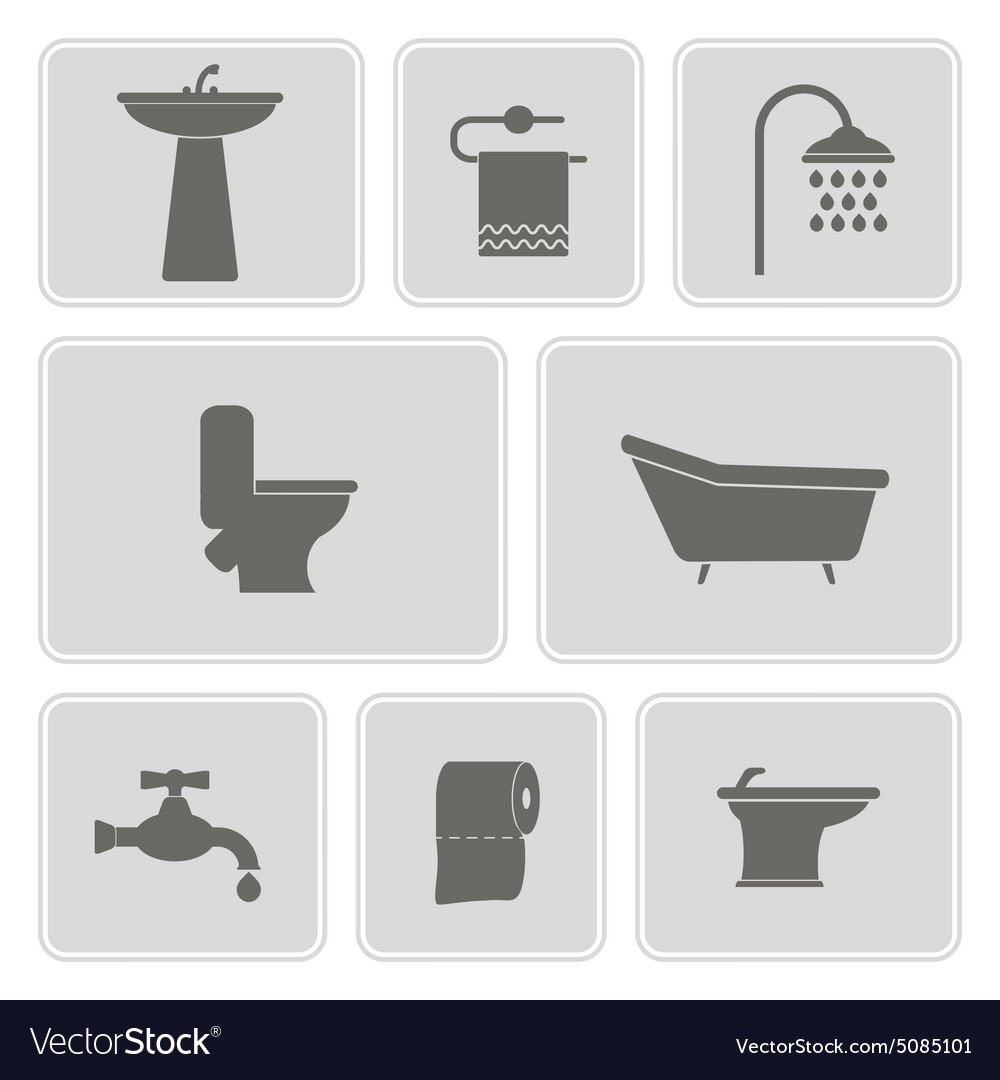 Set With Bathroom Icons Royalty Free Vector Image