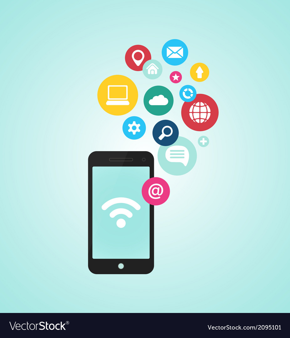 Smartphone device with applications app icons