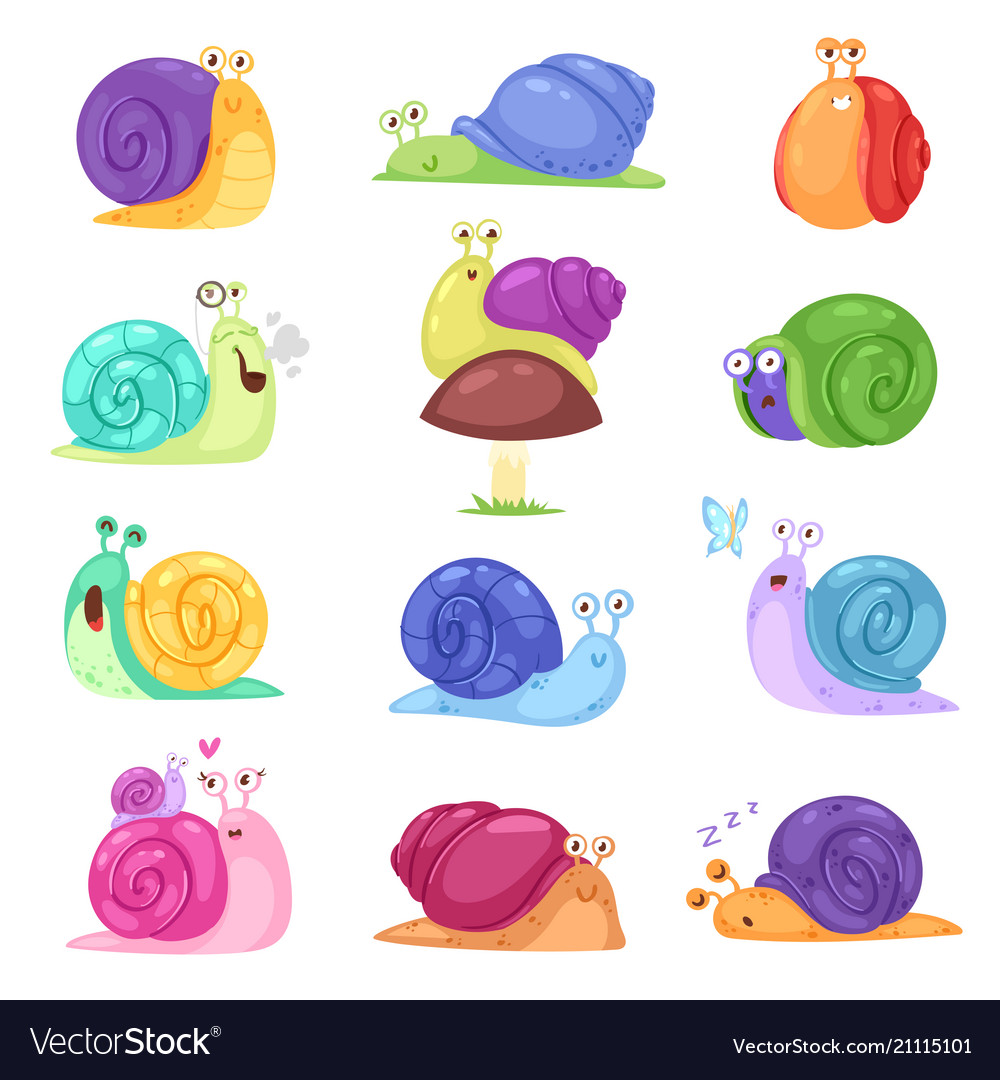 Snail snail-shaped character with shell and
