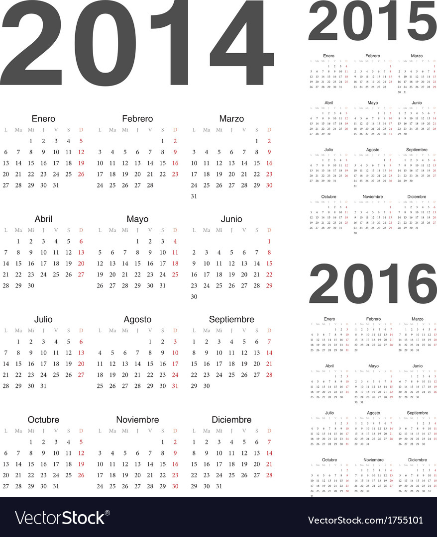 Spanish 2014 2015 2016 year calendars Royalty Free Vector