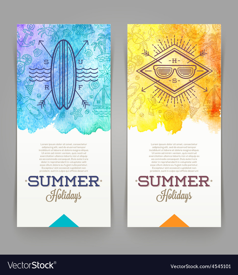 Summer holidays and travel banners with line