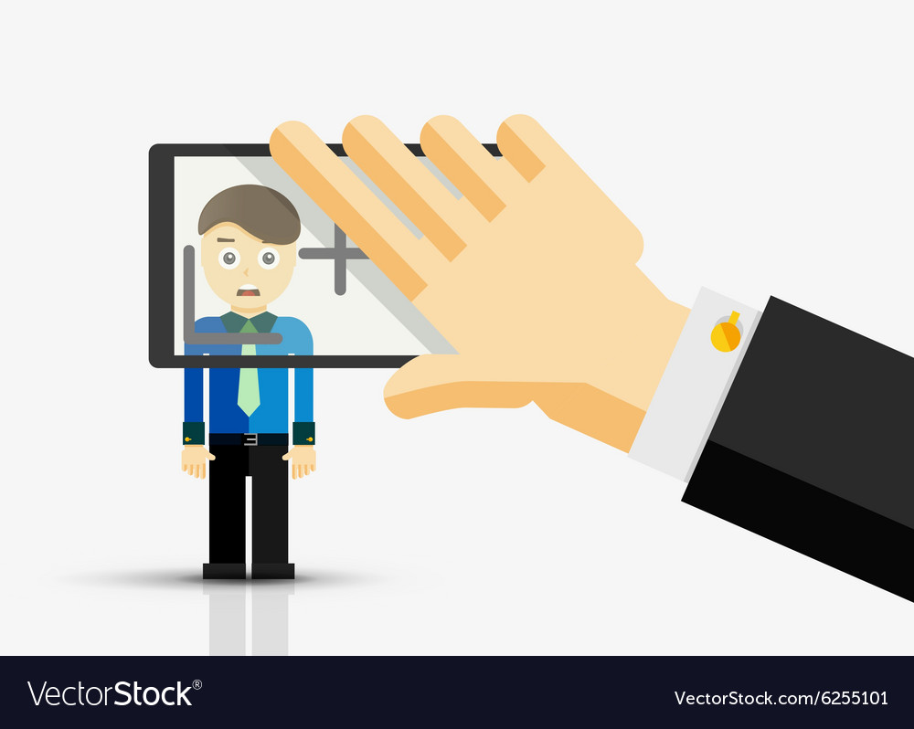 Taking a picture of businessman hand with vector image