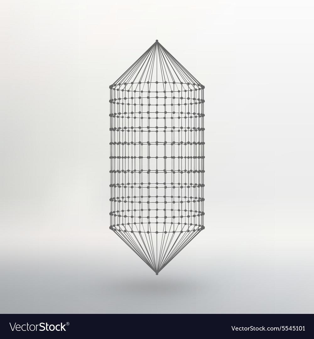 Wireframe mesh Polygonal capsule The capsule of vector image