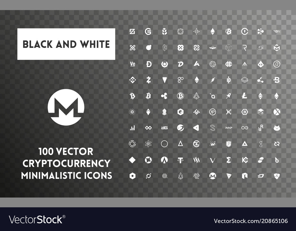 Big set of black and white cryptocurrency