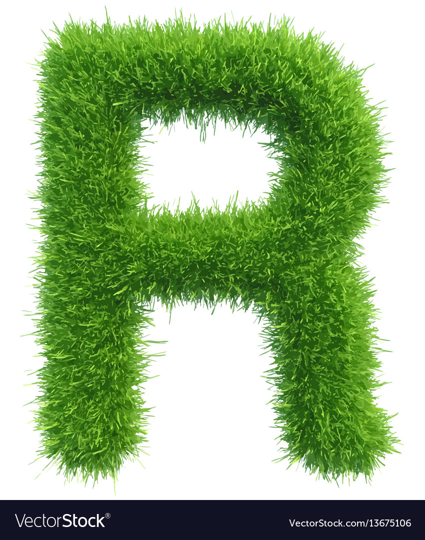 Capital letter r from grass on white