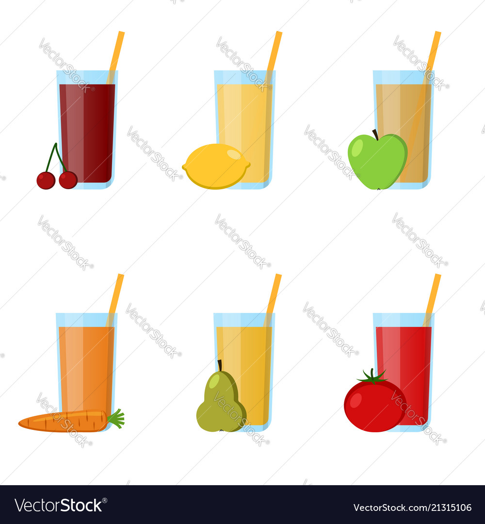Collection glass juices from fruits vegetables