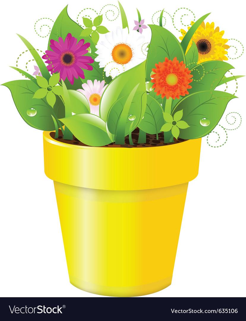 Flower Pot Royalty Free Vector Image Vectorstock