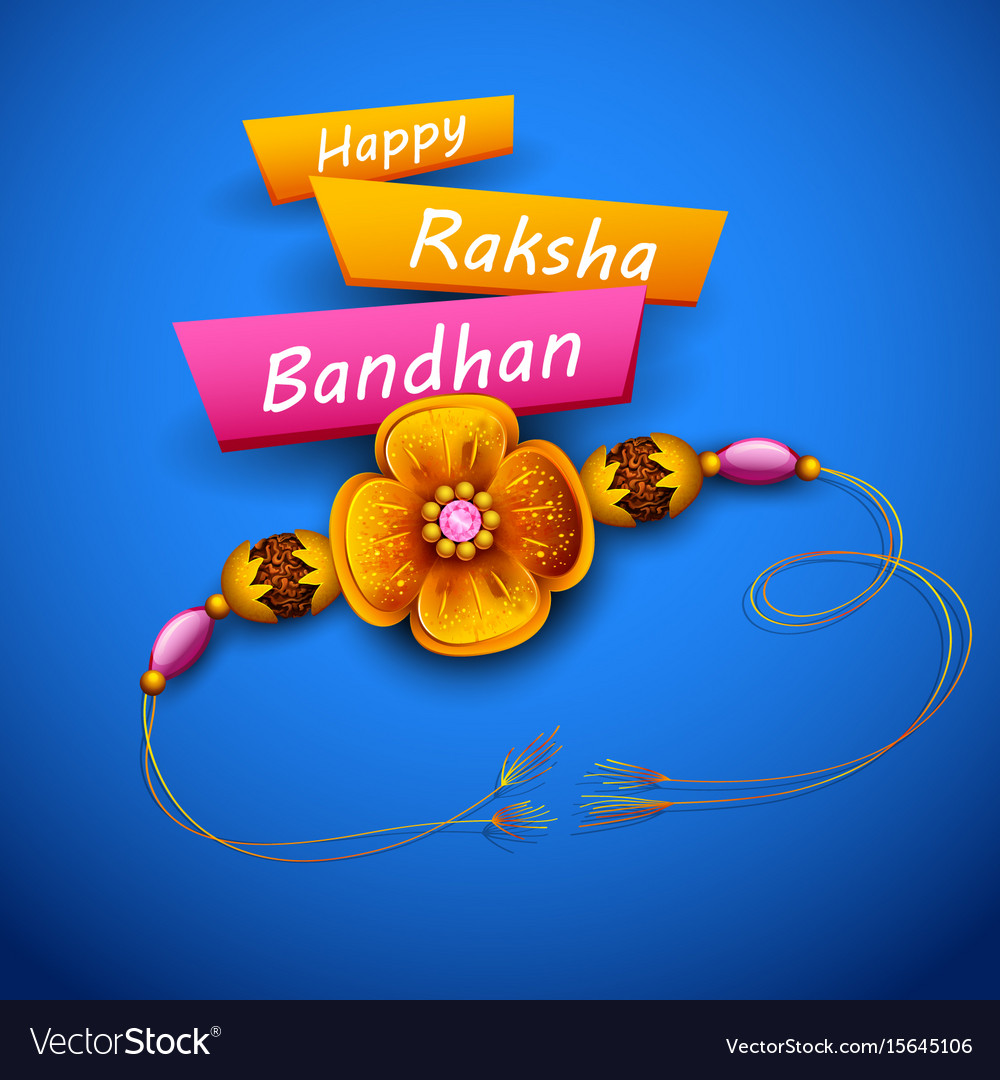 Greeting card with decorative rakhi for raksha