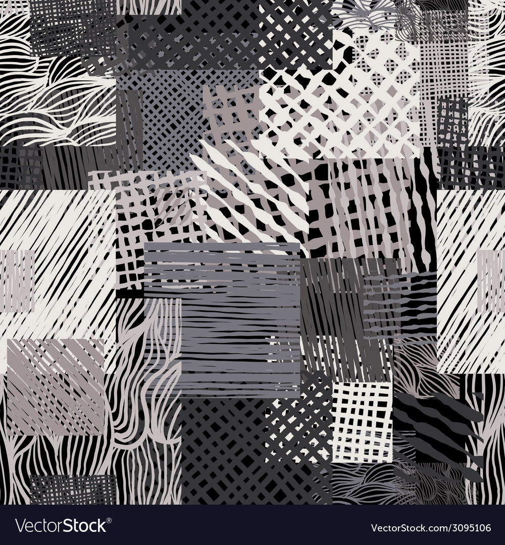 Hand drawn lines textures grunge style seamless vector image
