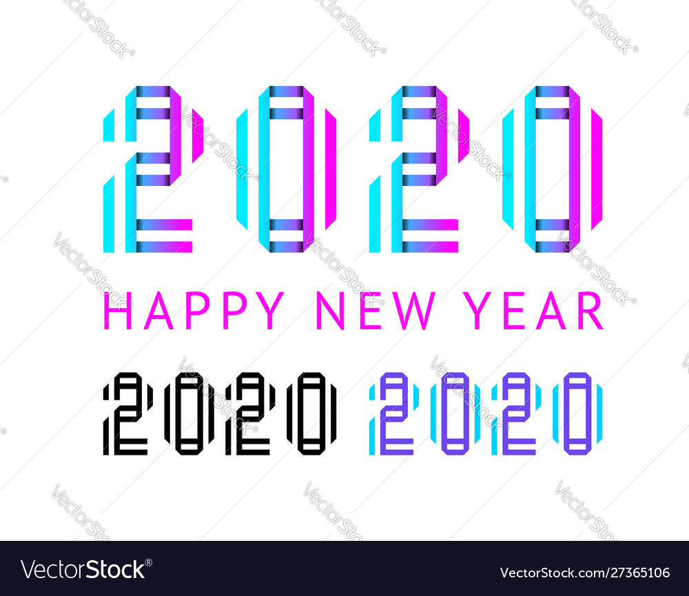 Happy new year greeting card design 2020