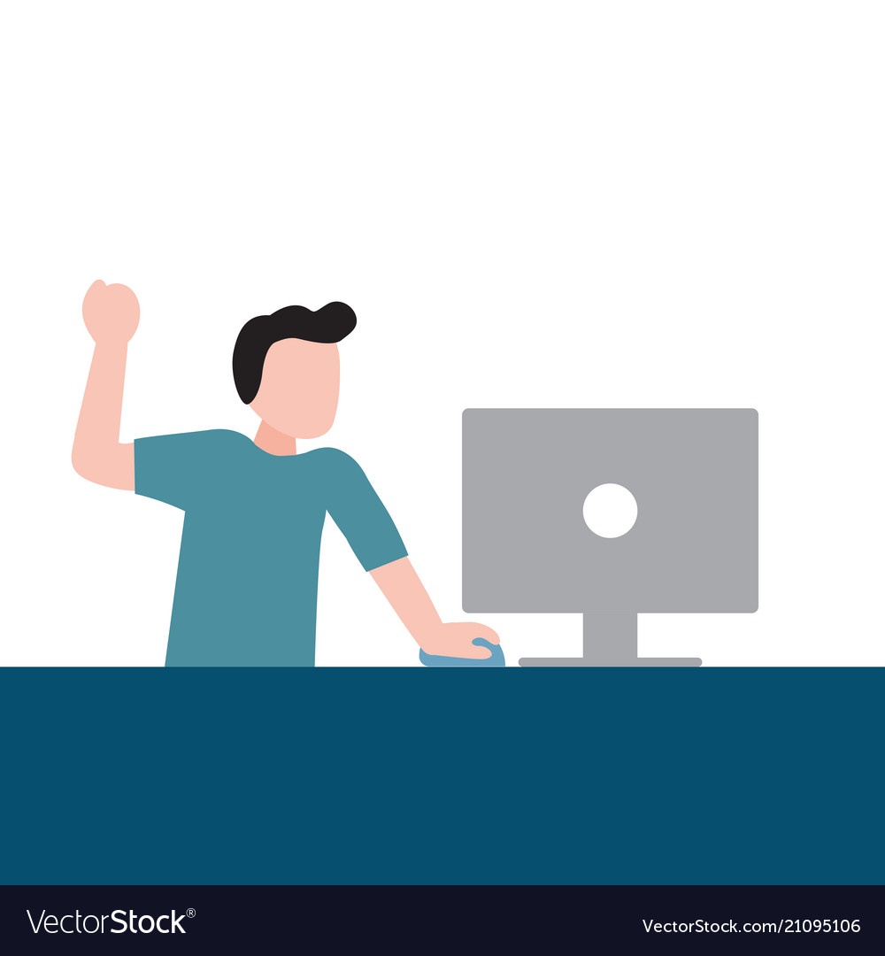 Happy people spending their time using computer