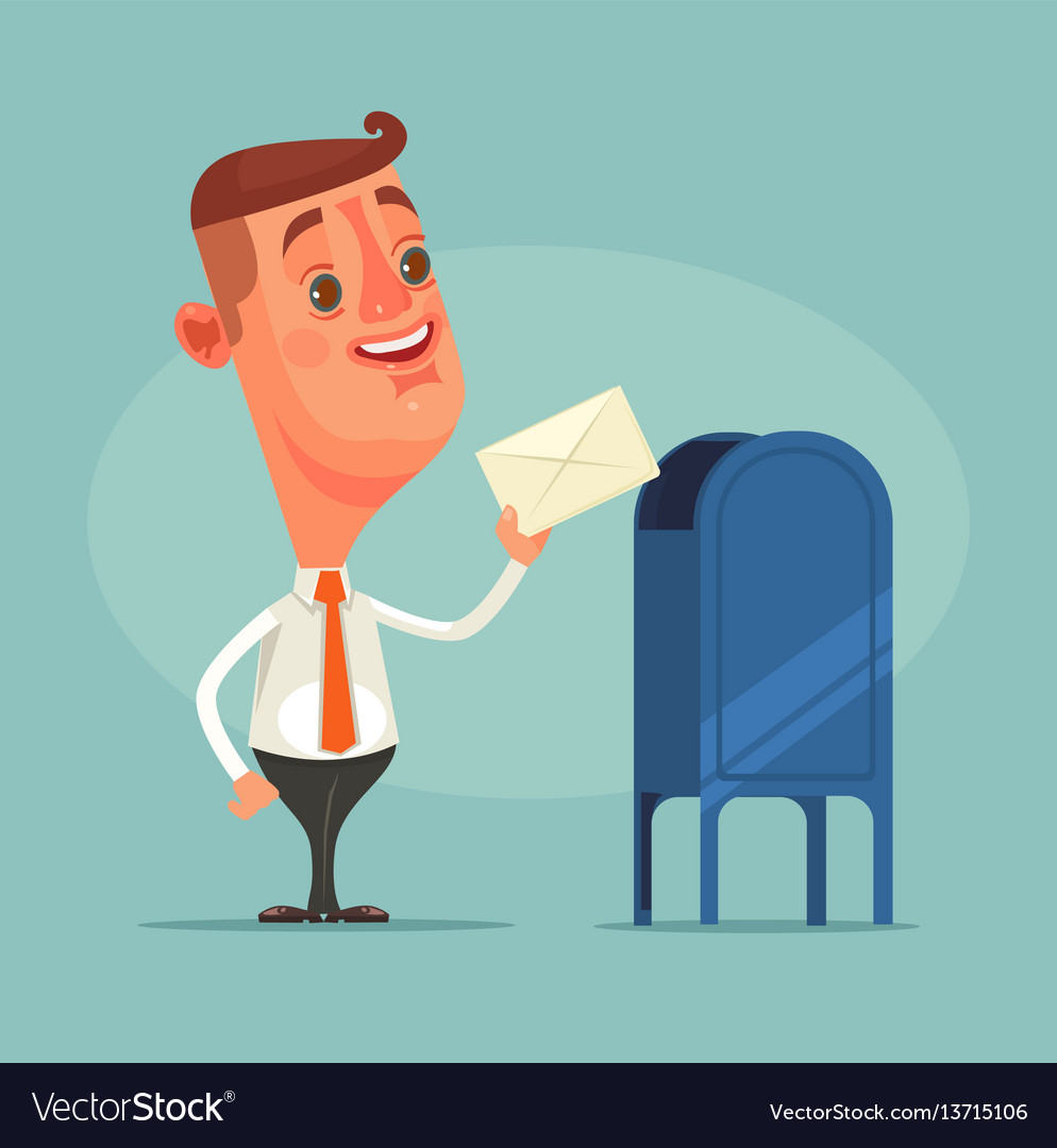 Man office worker character got envelope message