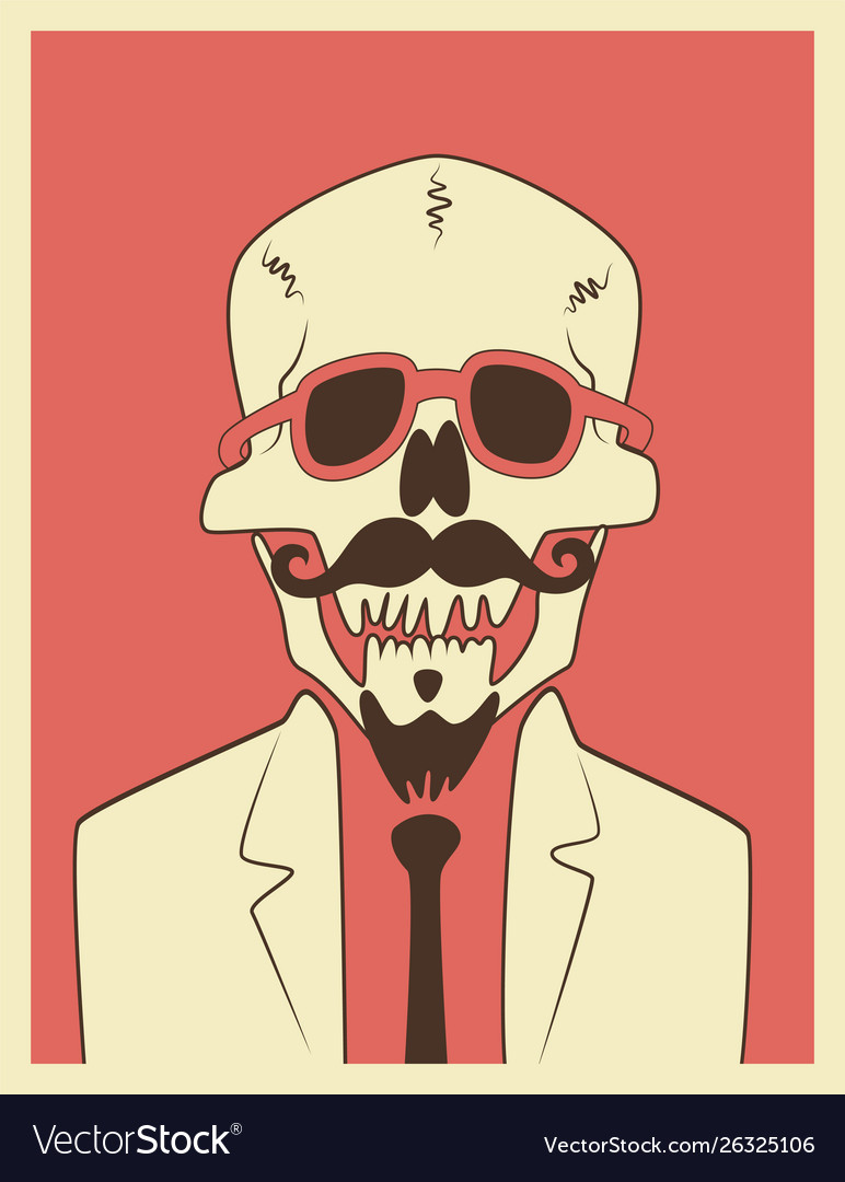 Mexican day dead skull hipster character