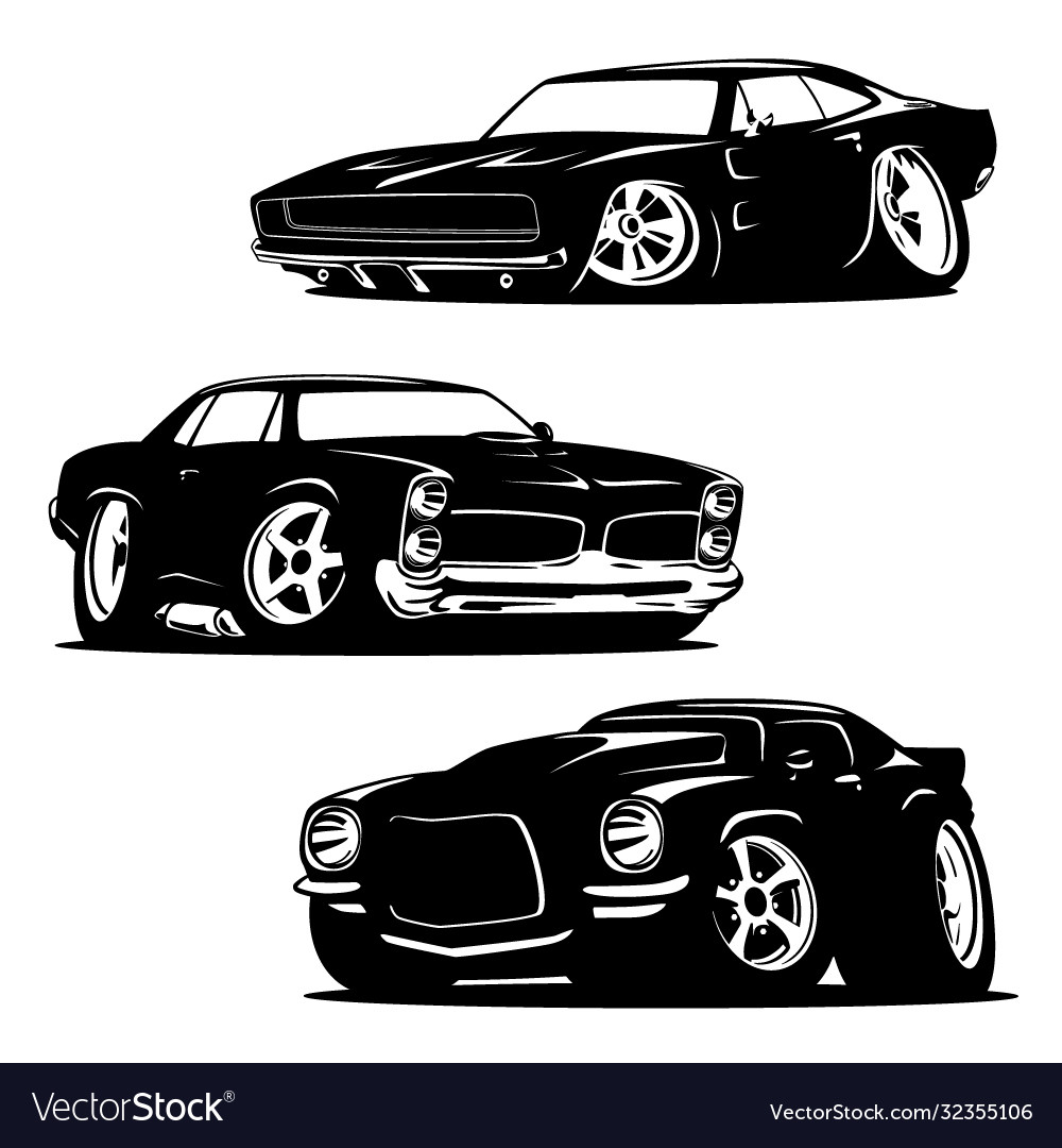 Muscle cars cartoons silhouette set