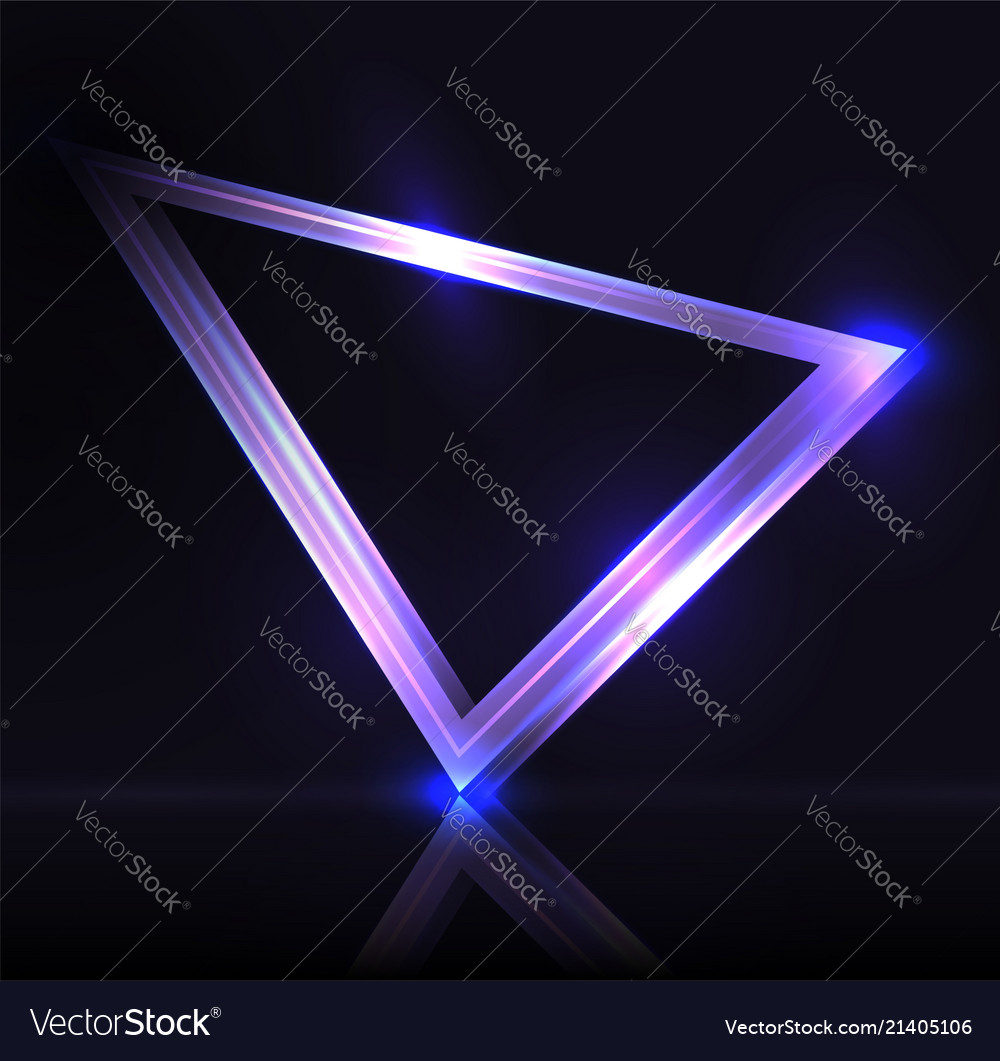 Neon triangle with highlights neon frame