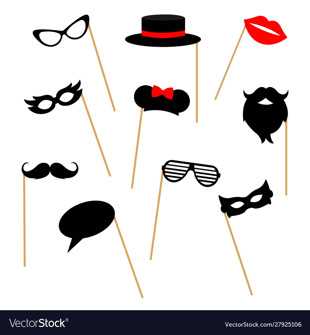 Photo booth props collection for party isolated