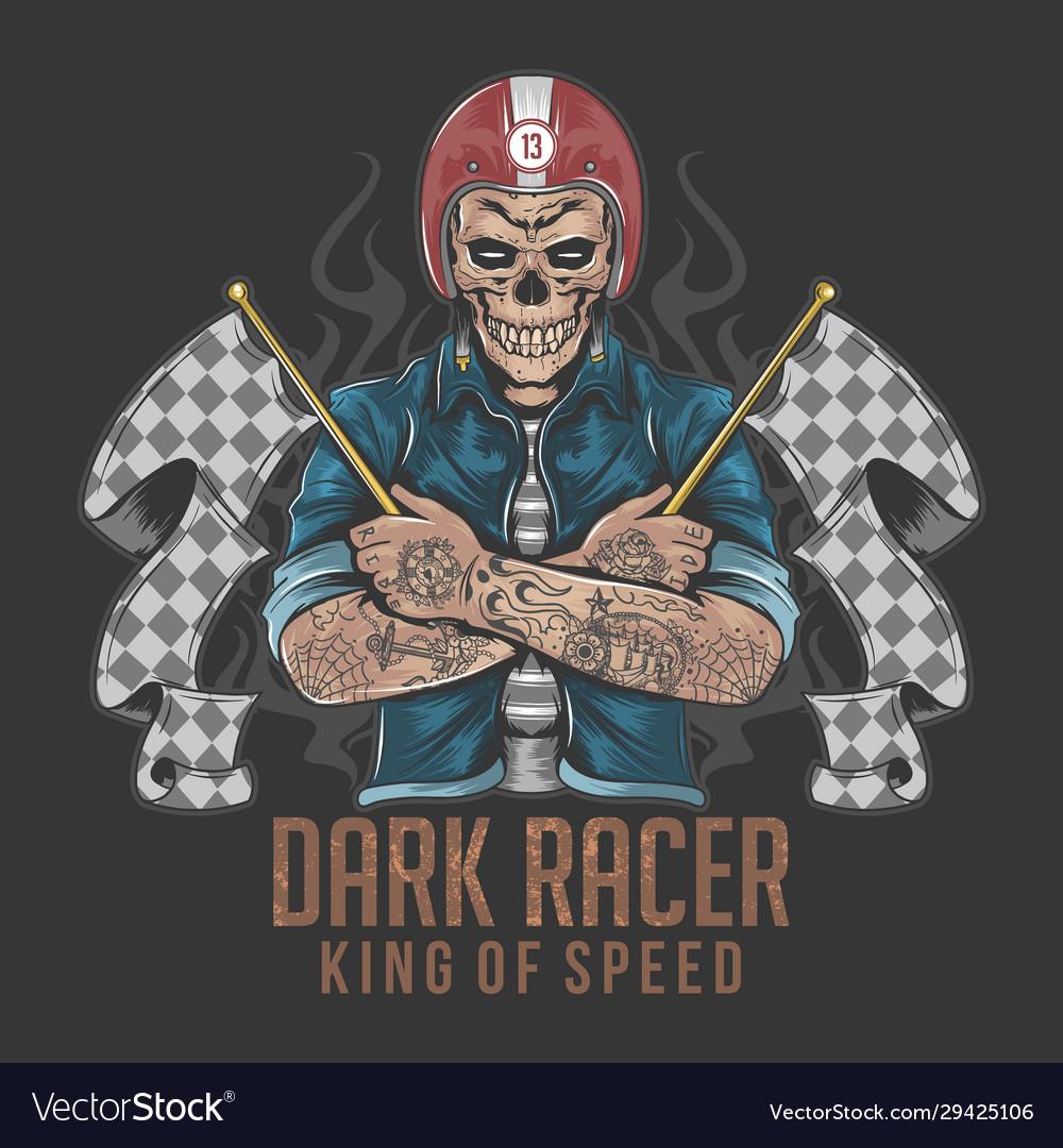 Racer skull rider with tattoo artwork