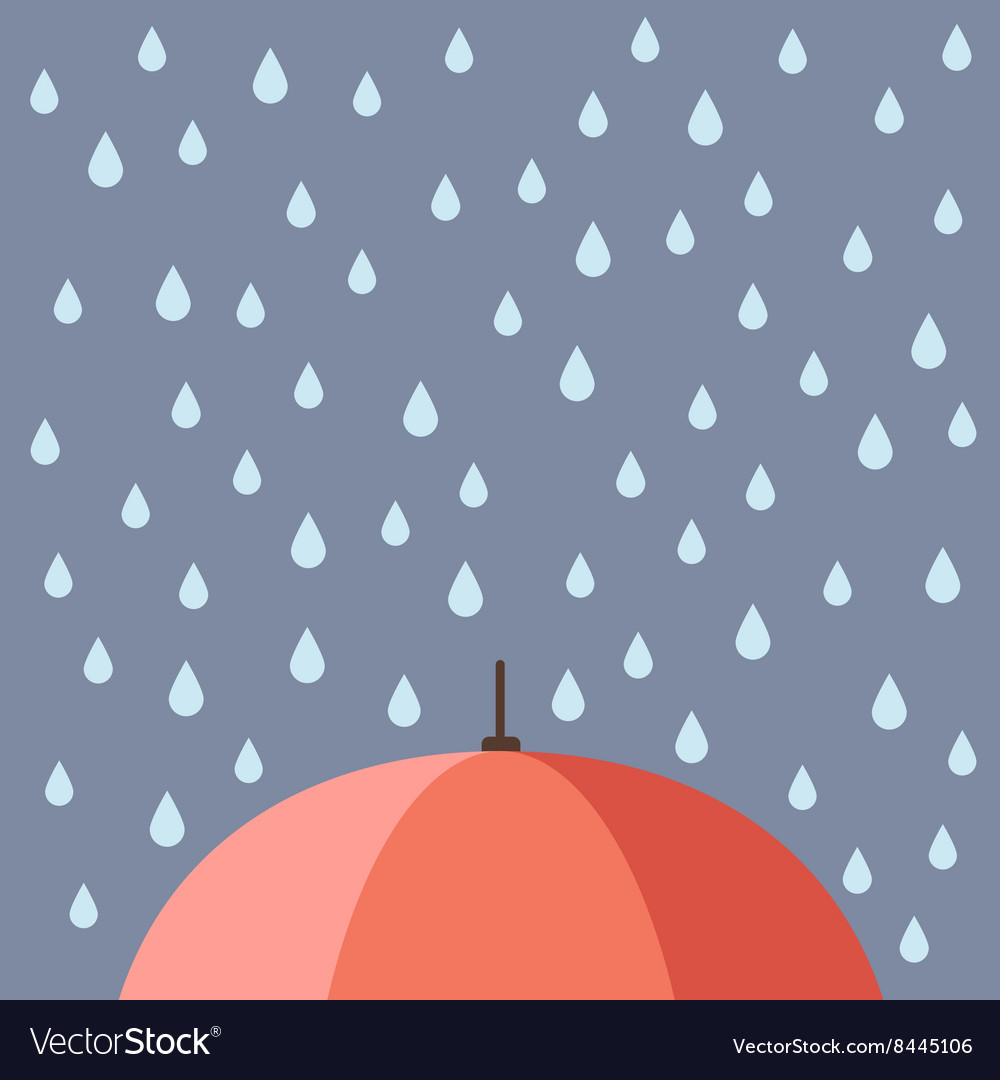 Rain drops with umbrella vector image