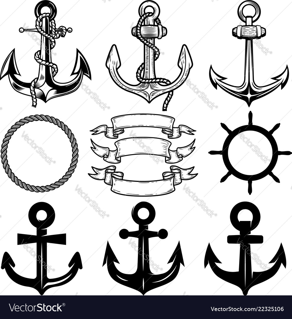Set anchors label and logos design template