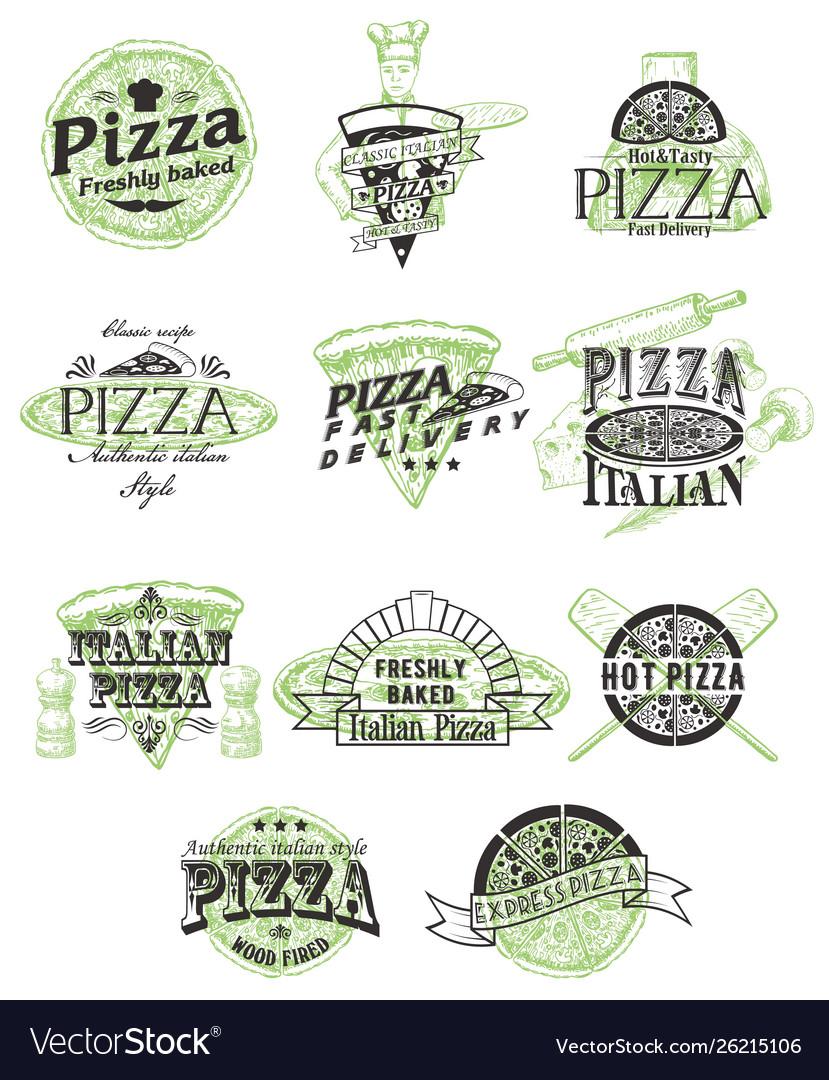 Set vintage pizza badges labels logos