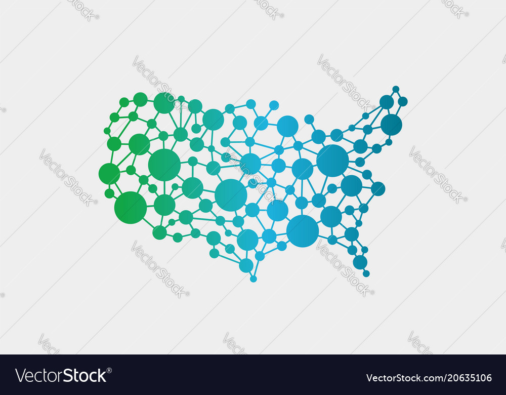 Usa United States Network Map Graphic Royalty Free Vector