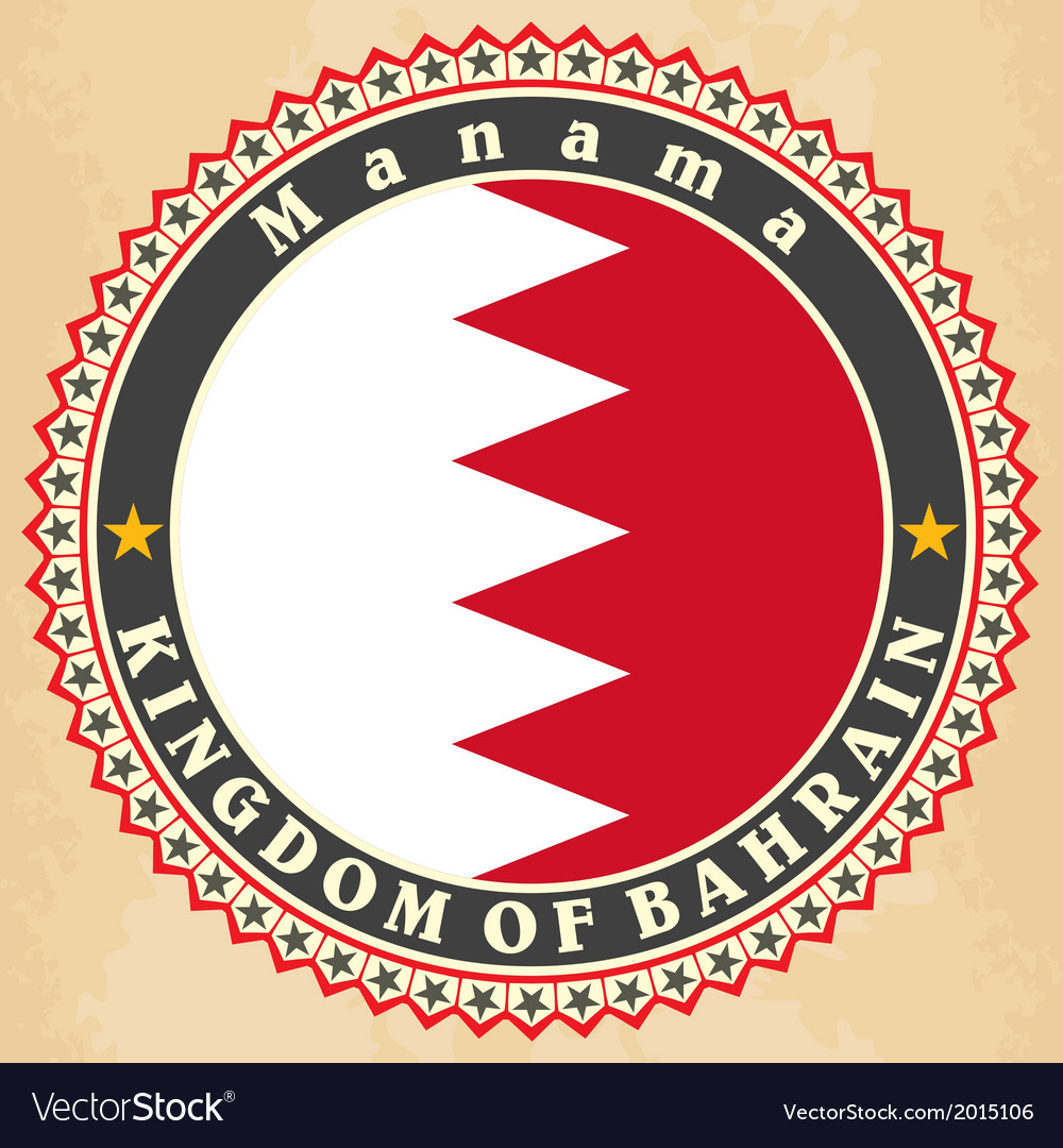 Vintage label cards of Bahrain flag