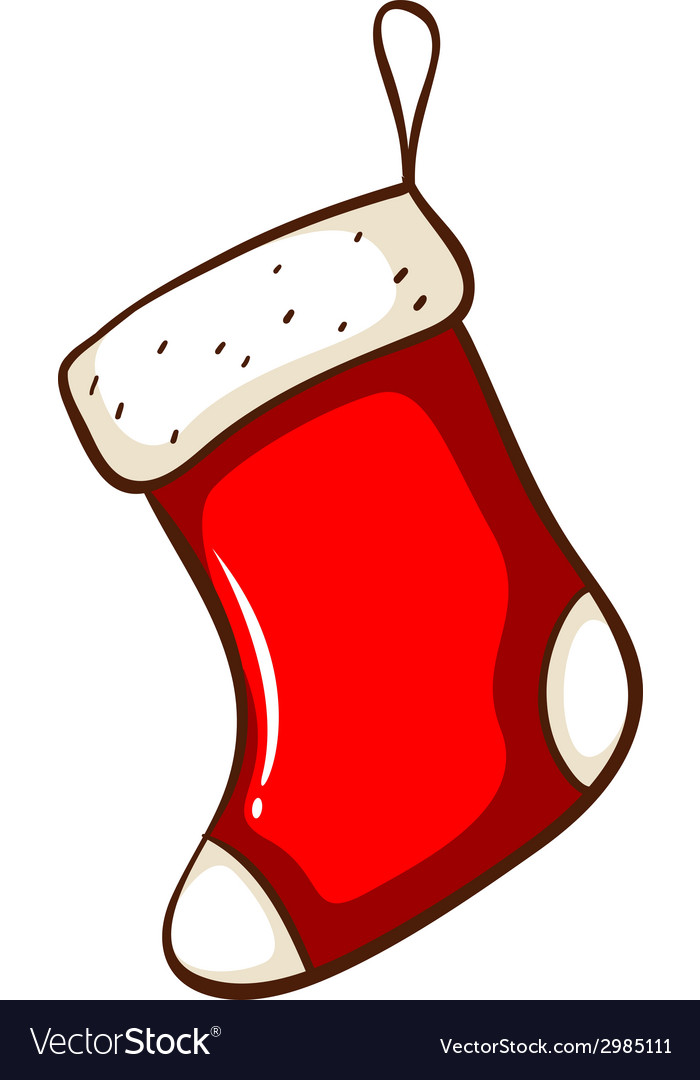 Red Christmas Stocking.A Simple Drawing Of A Red Christmas Stocking