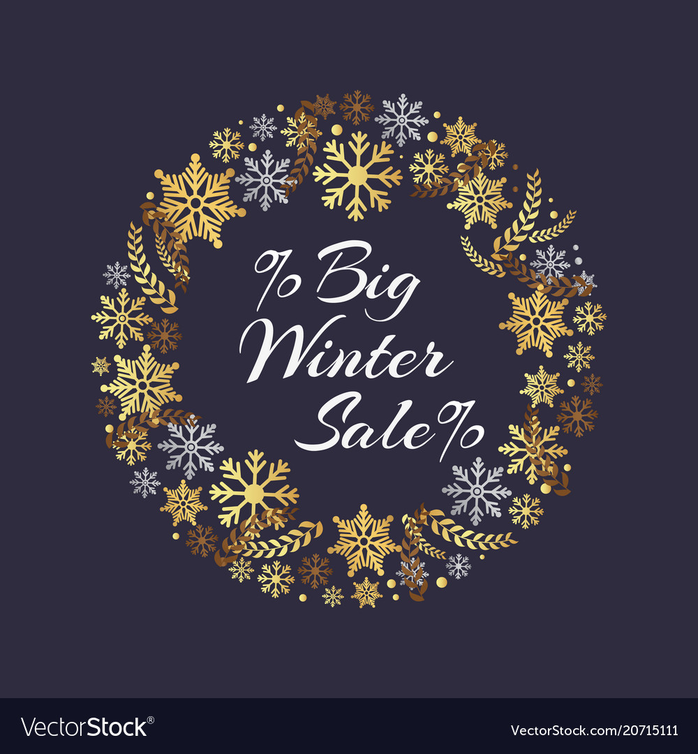 Big winter sale inscription in frame of snowflakes