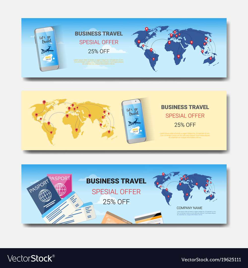 Business Travel Special Offer Set Template Vector Image